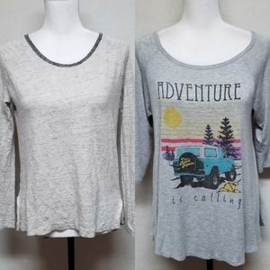 Madewell Altar'd State Grey Heathered Top Bundle